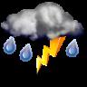 Muy nuboso con tormenta y lluvia escasa